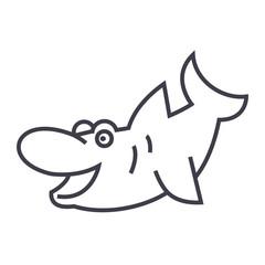 cute shark vector line icon, sign, illustration on white background, editable strokes