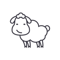 cute sheep vector line icon, sign, illustration on white background, editable strokes
