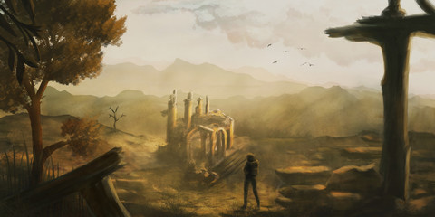 Idyllic scenery where a person discovers old ruins, digital painting