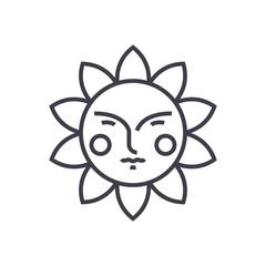 cute sun vector line icon, sign, illustration on white background, editable strokes