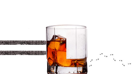 Glass of whiskey.Concept photography don't drink and drive.