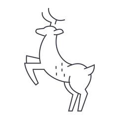 deer vector line icon, sign, illustration on white background, editable strokes