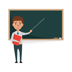 Teacher man with blackboard. cartoon vector background.