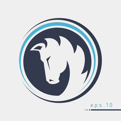 Logo with horse head in circle vector illustration