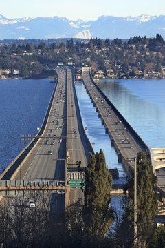 I-90 Bridge Seattle Mercer Island Snowy Cascade Mountains Washington State