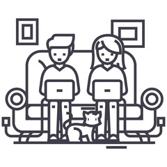 family at sofa working on laptops with cat vector line icon, sign, illustration on white background, editable strokes