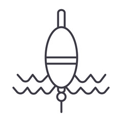 float fishing vector line icon, sign, illustration on white background, editable strokes