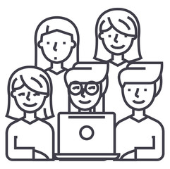 friends looking at notebook vector line icon, sign, illustration on white background, editable strokes