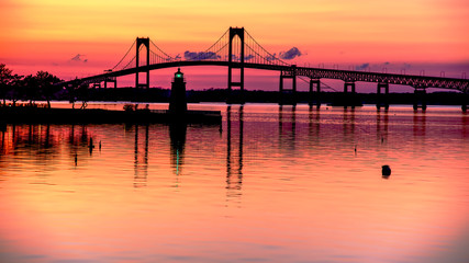 Aluminium Prints Coral Pell Bridge at Sunset