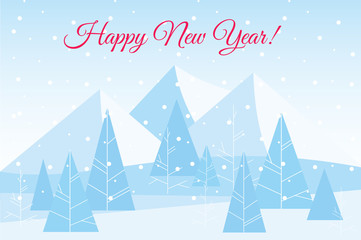 Vector illustration of beautiful Chrismas winter flat landscape background with trees and mountains. New Year winter vector landscape.