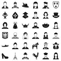Face icons set, simle style