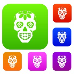 Sugar skull, flowers on the skull set color collection
