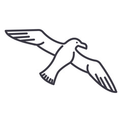 gull,seagull vector line icon, sign, illustration on white background, editable strokes