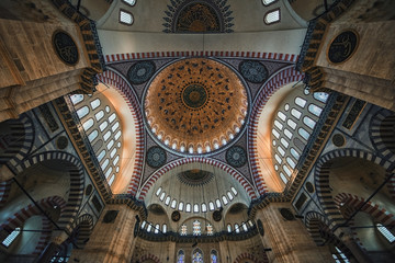 Ceiling of the Suleymaniye Camii mosque in Istanbul