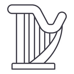harp vector line icon, sign, illustration on white background, editable strokes