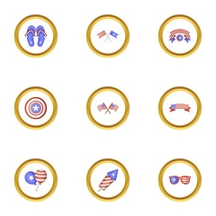USA patriotic holiday icons set, cartoon style