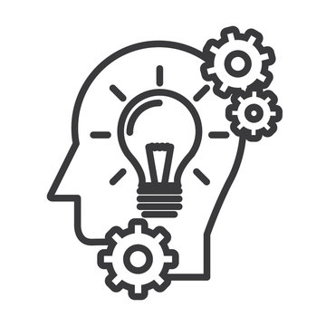 head with lamp,idea generation vector line icon, sign, illustration on white background, editable strokes