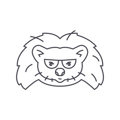 hedgehog head vector line icon, sign, illustration on white background, editable strokes