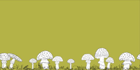 Seamless border with hand drawn mushrooms on the color background