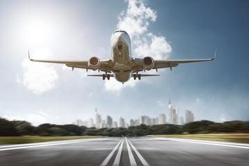Flugzeug landet auf Airport Fototapete