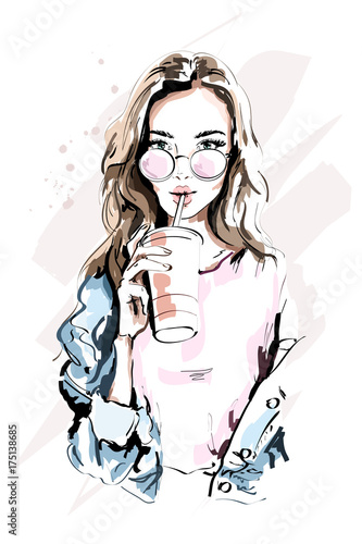 b3b2e21ac Hand drawn beautiful young woman portrait. Fashion girl with coffee ...