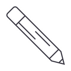 pencil vector line icon, sign, illustration on white background, editable strokes