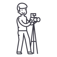 photographer with camera and tripod,photo studio vector line icon, sign, illustration on white background, editable strokes