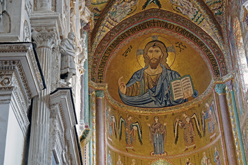 Interior of Cefalu Cathedral with mosaic of Christ Pantokrator in the apse, Sicily, Italy