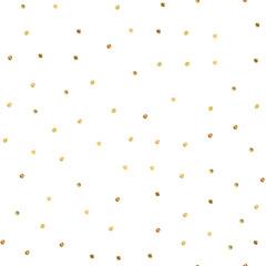 Golden dots seamless pattern on white background. Beautiful gradient golden dots endless random scattered confetti on white background. Confetti fall chaotic decor. Modern creative pattern.