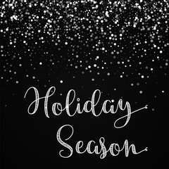 Holiday Season greeting card. Random falling white dots background. Random falling white dots on black background. Magnificent vector illustration.