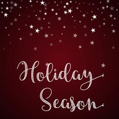 Holiday Season greeting card. Random falling stars background. Random falling stars on red background. Magnificent vector illustration.