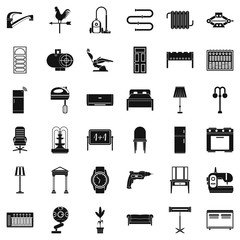 Household icons set, simple style
