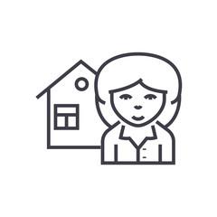 realtor vector line icon, sign, illustration on white background, editable strokes