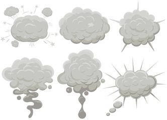 Smoke cloud set Explosion. Dust puff cartoon frame vector