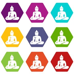 Statue of Buddha sitting in lotus pose icon set color hexahedron