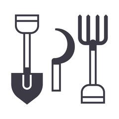 garden tools, shovel, hayfork vector line icon, sign, illustration on white background, editable strokes