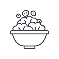 salad bowl vector line icon, sign, illustration on white background, editable strokes