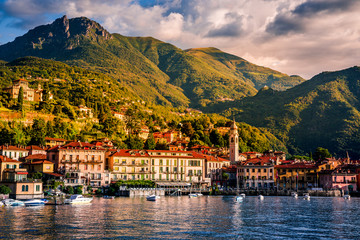 Must see in Italy. Lake Como. Menaggio, Italy. Summer time. European vacation, living life style, architecture and travel concept.
