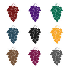 Fototapete - Bunch of wine grapes icon in black style isolated on white background. Spain country symbol stock vector illustration.