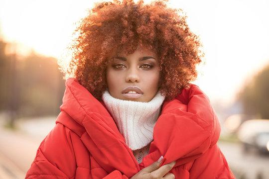 Autumn portrait of african american girl.