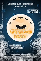 Vector poster for Halloween party night with full moon, flock of bats, text on the gradient dark blue background with silhouettes of pumpkin.