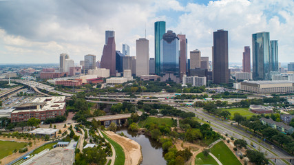 Aerial view of skyline downtown Houston building city, at buffalo bayou park, Houston, Texas, USA