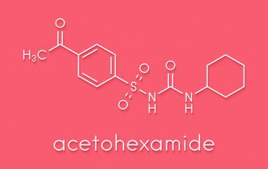 Glibenclamide (glyburide) diabetes drug molecule. Skeletal formula.