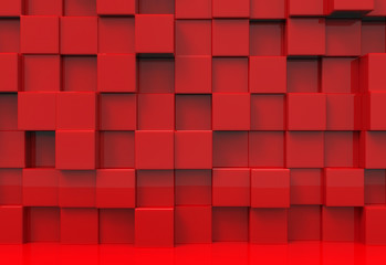 3d rendering. stack of modern luxuery Red cube shape boxs wall backgoround