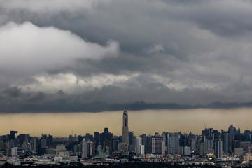 Rain clouds gather over central Bangkok