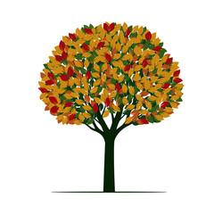 Beautiful color Tree. Vector Illustration.