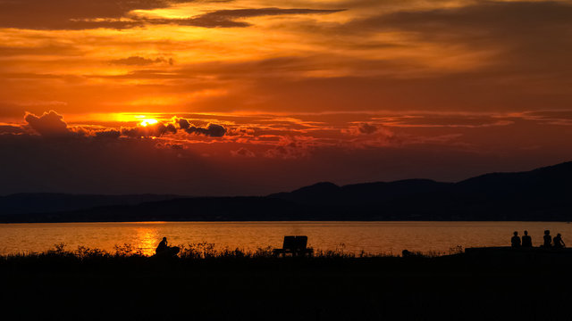 Majestic sunset over Carleton-sur-mer camping, at the beach, Quebec, Canada