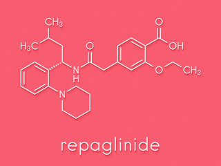 Repaglinide diabetes drug molecule. Skeletal formula.