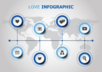 Infographic design with love icons