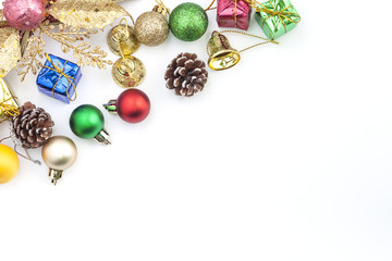 Christmas Decoration. Holiday Decoration lsolated on White Background. Top View